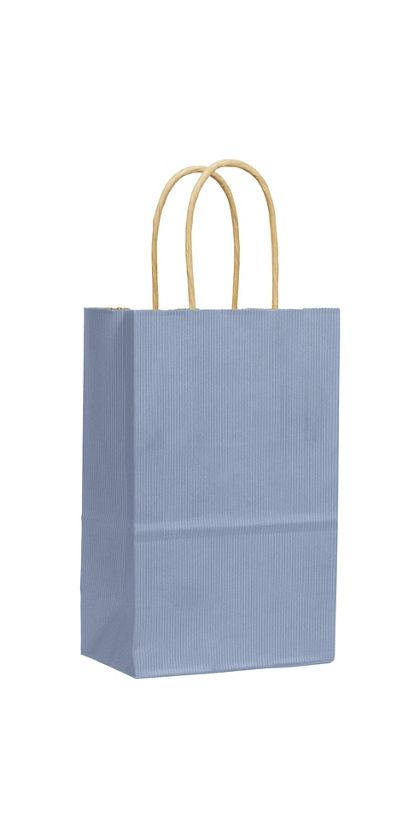 French Blue Varnish Stripe Shoppers, 5 1/4x3 1/2x8 1/4""