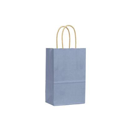 French Blue Varnish Stripe Shoppers, 5 1/4x3 1/2x8 1/4