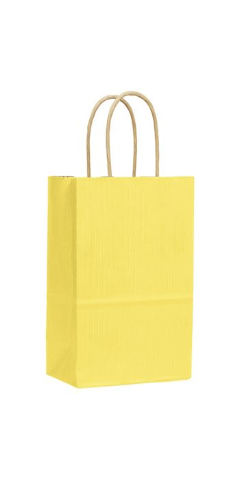 Yellow Varnish Stripe Shoppers, 5 1/4 x 3 1/2 x 8 1/4