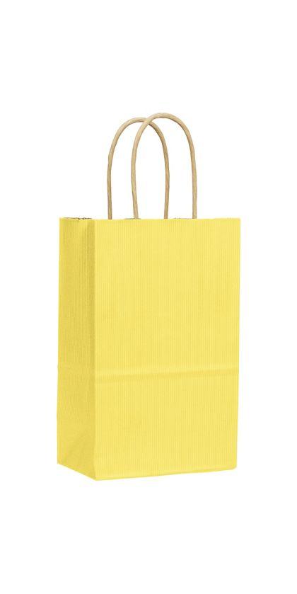 "Yellow Varnish Stripe Shoppers, 5 1/4 x 3 1/2 x 8 1/4"""