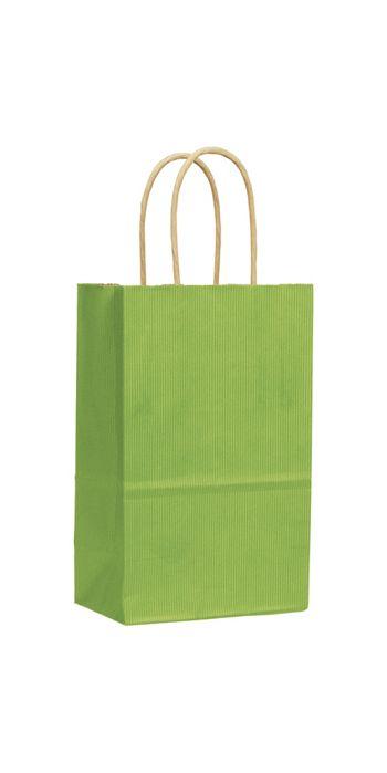 Apple Green Varnish Stripe Shoppers, 5 1/4x3 1/2x8 1/4