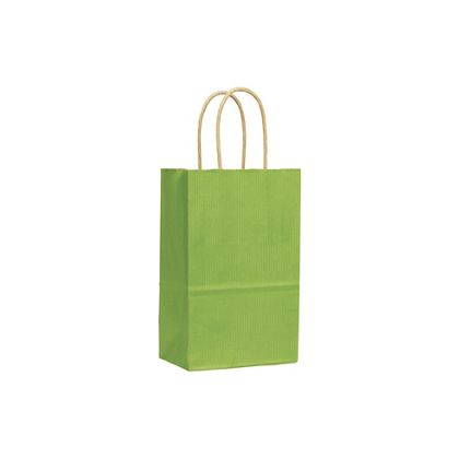 Apple Green Varnish Stripe Shoppers, 5 1/4x3 1/2x8 1/4
