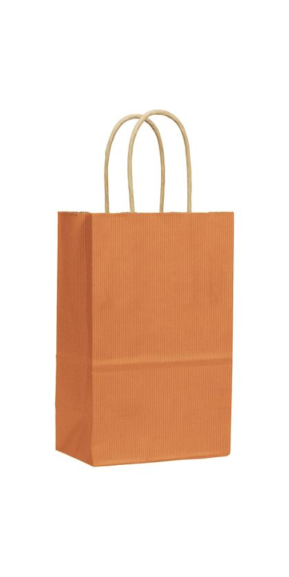 Terracotta Varnish Stripe Shoppers, 5 1/4x3 1/2x8 1/4""