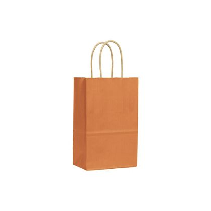 Terracotta Varnish Stripe Shoppers, 5 1/4x3 1/2x8 1/4