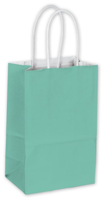 Aqua Cotton Candy Shoppers, 5 1/4 x 3 1/2 x 8 1/4