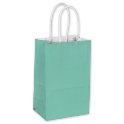 Aqua Color-on-White Kraft Shoppers, 5 1/4 x 3 1/2 x 8 1/4