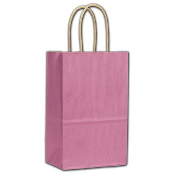 Cerise Varnish Stripe Shoppers, 5 1/4 x 3 1/2 x 8 1/4
