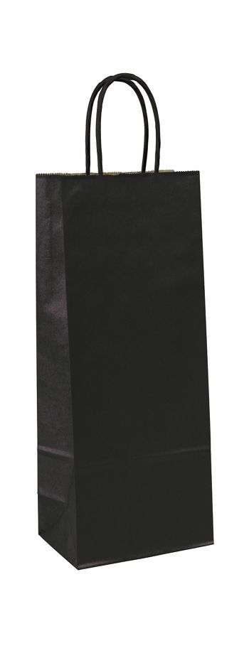 Black-on-Kraft Wine Bags, 5 1/4 x 3 1/4 x 13