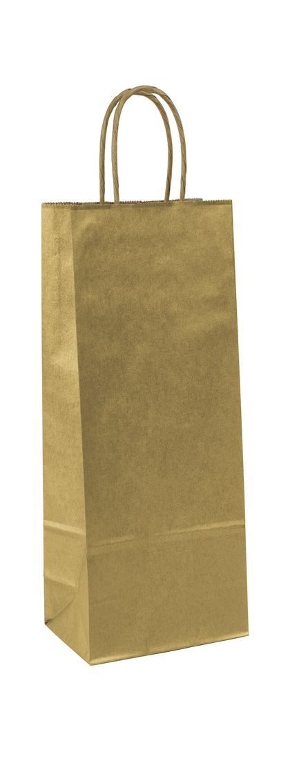 Gold Metallic-on-Kraft Wine Bags, 5 1/4 x 3 1/4 x 13""