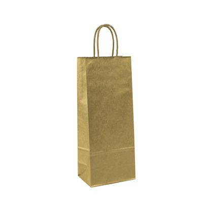 Gold Metallic-on-Kraft Wine Bags, 5 1/4 x 3 1/4 x 13