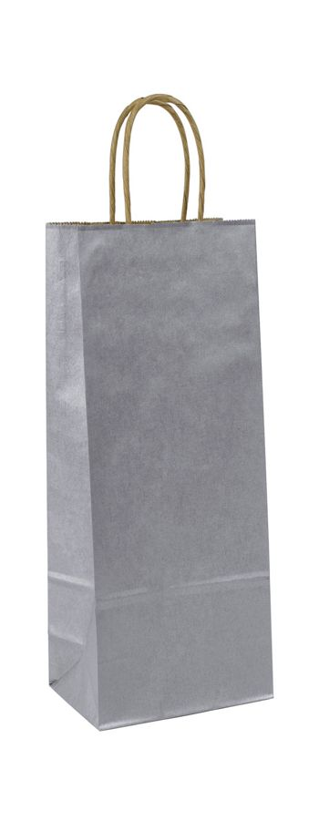 Silver Metallic-on-Kraft Wine Bags, 5 1/4 x 3 1/4 x 13