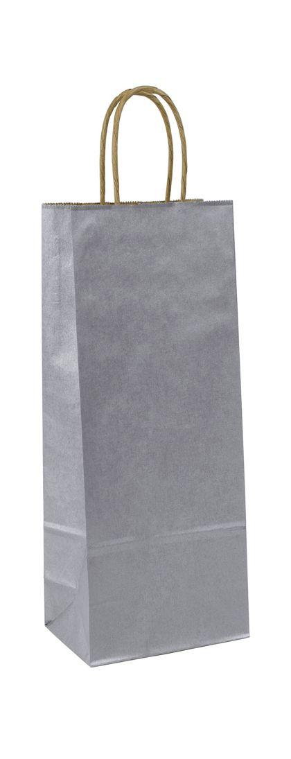 """Silver Metallic-on-Kraft Wine Bags, 5 1/4 x 3 1/4 x 13"""""""