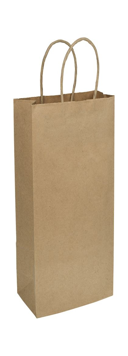 Kraft Paper Shoppers Wine, 5 1/4 x 3 1/2 x 13""