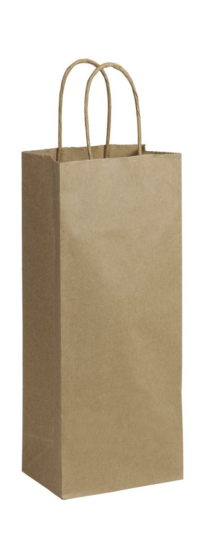 """Recycled Kraft Paper Shoppers Wine, 5 1/4 x 3 1/2 x 13"""""""