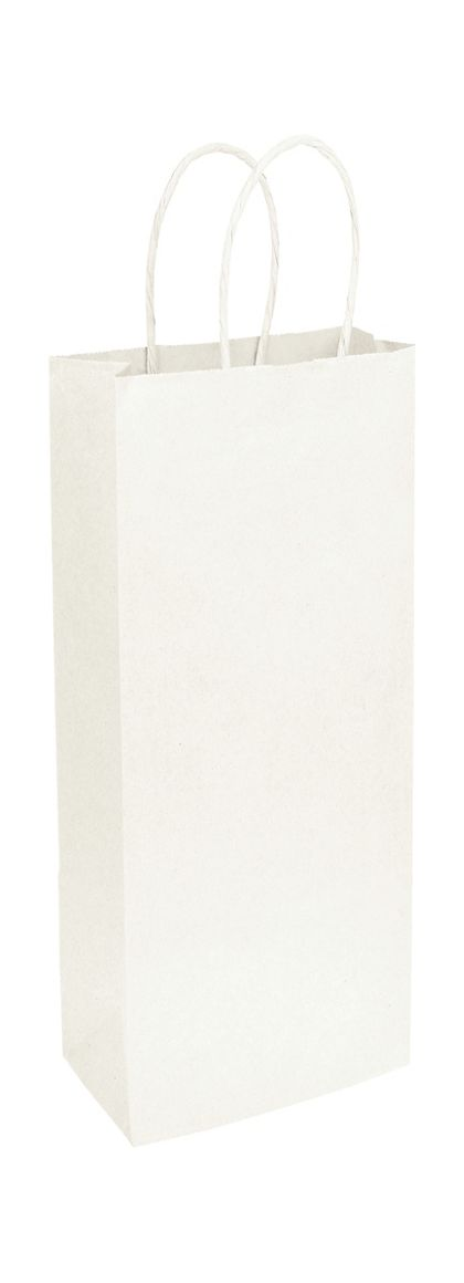 Recycled White Kraft Paper Shoppers Wine, 5 1/4x3 1/2x13""