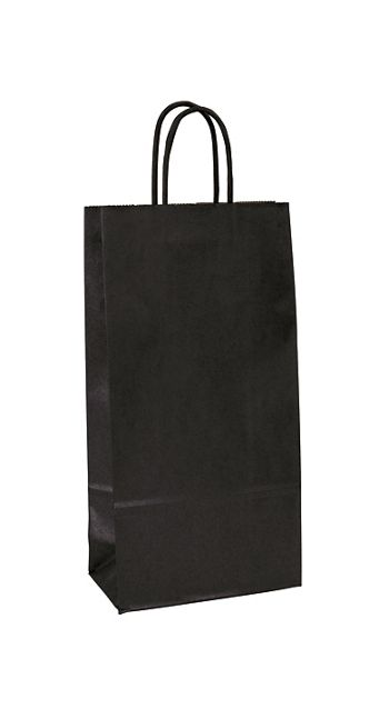 Black-on-Kraft Wine Bags, 6 1/2 x 3 1/2 x 13