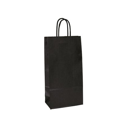 Black-on-Kraft Wine Bags, 6 1/2 x 3 1/2 x 13""
