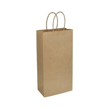 Kraft Paper Shoppers Double Wine, 6 1/2 x 3 1/2 x 13