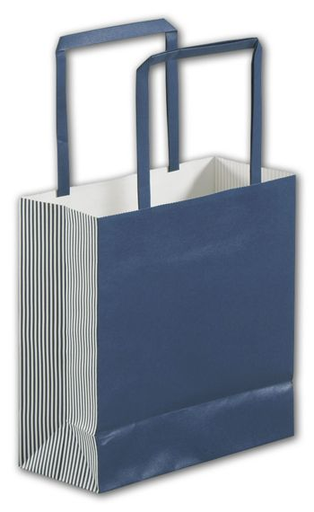 Navy Stripe Square Shoppers, 7 x 3 x 7