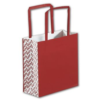 Red Botanical Square Shoppers, 7 x 3 x 7