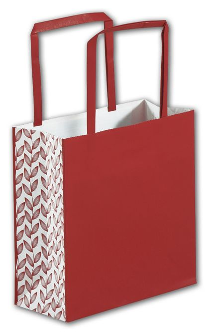 """Red Botanical Square Shoppers, 7 x 3 x 7"""""""