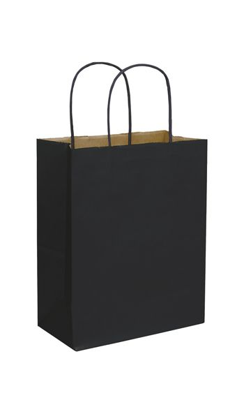 Black Color-on-Kraft Shoppers, 8 1/4 x 4 3/4 x 10 1/2