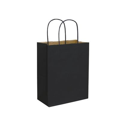 Black Color-on-Kraft Shoppers, 8 1/4 x 4 3/4 x 10 1/2""