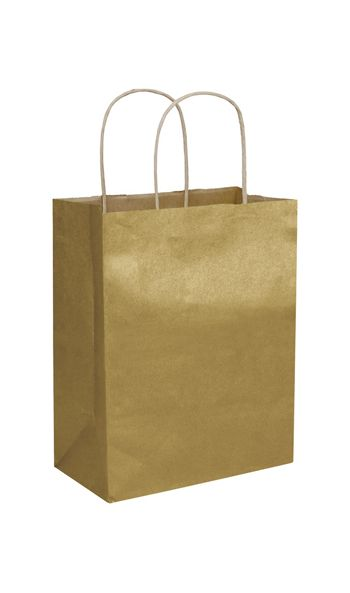 Gold Metallic-on-Kraft Shoppers, 8 1/4 x 4 3/4 x 10 1/2