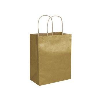 "Gold Metallic-on-Kraft Shoppers, 8 1/4 x 4 3/4 x 10 1/2"""