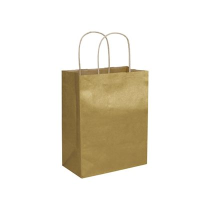 Gold Metallic-on-Kraft Shoppers, 8 1/4 x 4 3/4 x 10 1/2""
