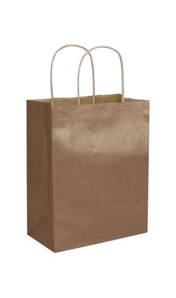 Copper Metallic-on-Kraft Shoppers, 8 1/4 x 4 3/4 x 10 1/2