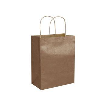 Copper Metallic-on-Kraft Shoppers, 8 1/4 x 4 3/4 x 10 1/2