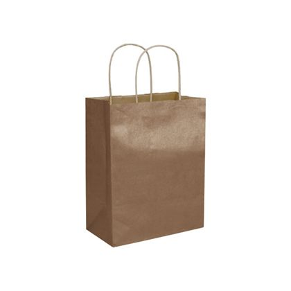 "Copper Metallic-on-Kraft Shoppers, 8 1/4 x 4 3/4 x 10 1/2"""