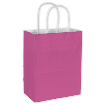 Hot Pink Color-on-White Kraft Shoppers 8 1/4x4 3/4x10 1/2