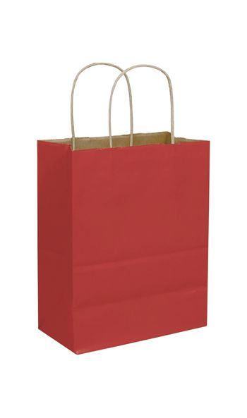 Brick Red Color-on-Kraft Shoppers, 8 1/4 x 4 3/4 x 10 1/2