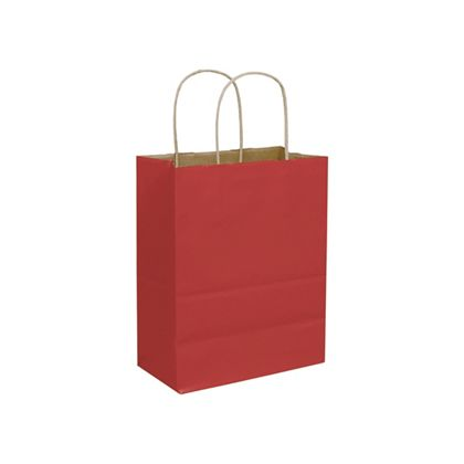 """Brick Red Color-on-Kraft Shoppers, 8 1/4 x 4 3/4 x 10 1/2"""""""