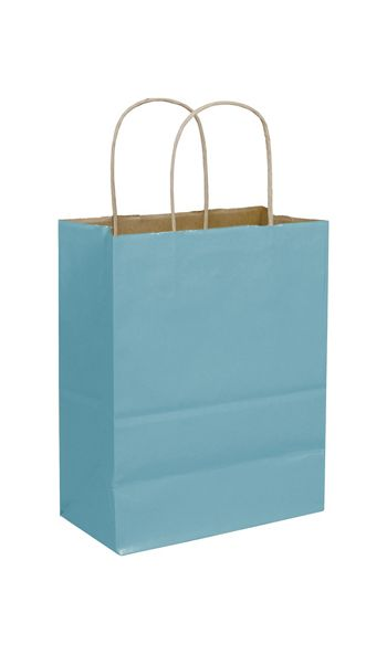 Robin's Egg Color-on-Kraft Shoppers, 8 1/4x4 3/4x10 1/2