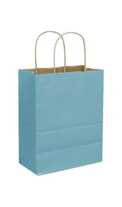 Robin's Egg Color-on-Kraft Shoppers, 8 1/4x4 3/4x10 1/2""