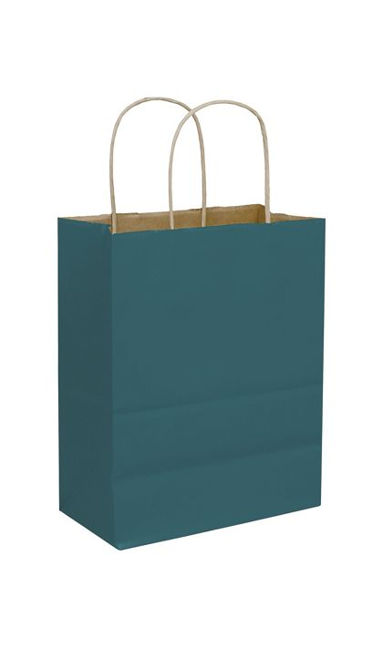 Teal Color-on-Kraft Shoppers, 8 1/4 x 4 3/4 x 10 1/2""