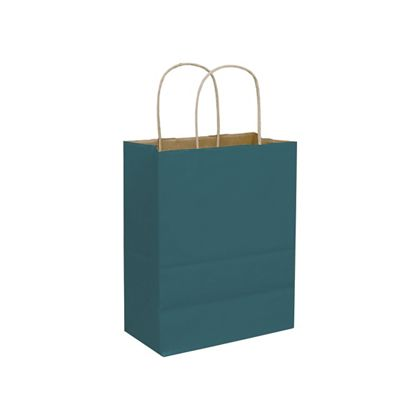 Teal Color-on-Kraft Shoppers, 8 1/4 x 4 3/4 x 10 1/2