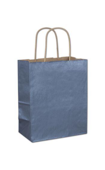 Blue Metallic-on-Kraft Shoppers, 8 1/4 x 4 3/4 x 10 1/2