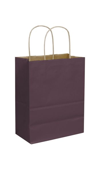Plum Color-on-Kraft Shoppers, 8 1/4 x 4 3/4 x 10 1/2
