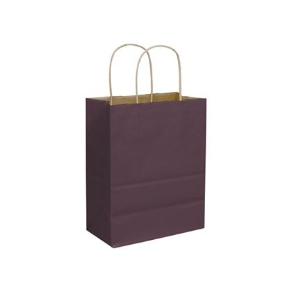 Plum Color-on-Kraft Shoppers, 8 1/4 x 4 3/4 x 10 1/2""