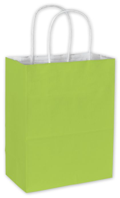 """Lime Cotton Candy Shoppers, 8 1/4 x 4 3/4 x 10 1/2"""""""