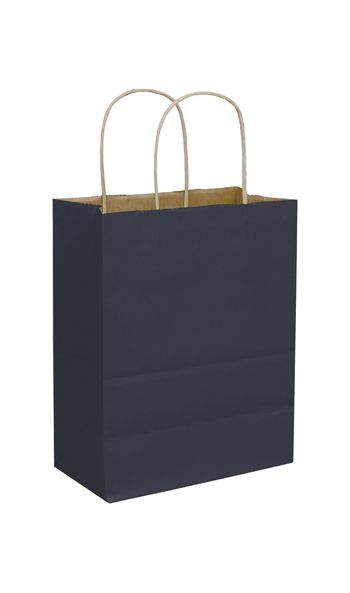 Dark Blue Color-on-Kraft Shoppers, 8 1/4x4 3/4x10 1/2