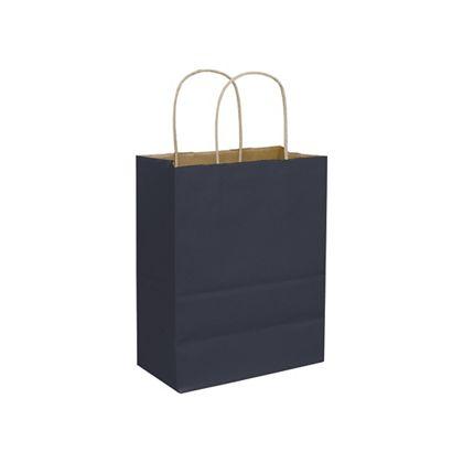Dark Blue Color-on-Kraft Shoppers, 8 1/4x4 3/4x10 1/2
