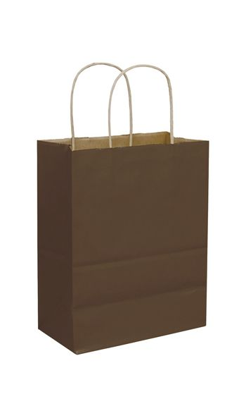 Chocolate Color-on-Kraft Shoppers, 8 1/4x4 3/4x10 1/2