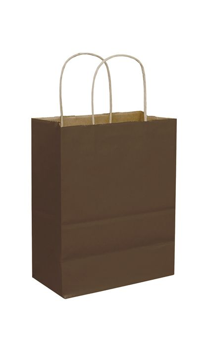 """Chocolate Color-on-Kraft Shoppers, 8 1/4x4 3/4x10 1/2"""""""
