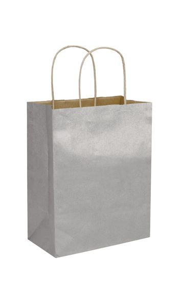 Silver Metallic-on-Kraft Shoppers, 8 1/4 x 4 3/4 x 10 1/2