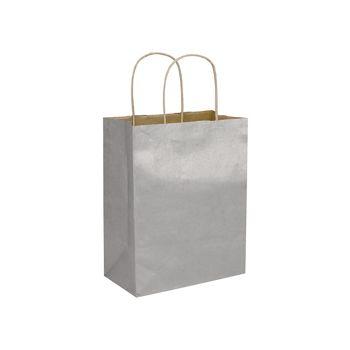 "Silver Metallic-on-Kraft Shoppers, 8 1/4 x 4 3/4 x 10 1/2"""